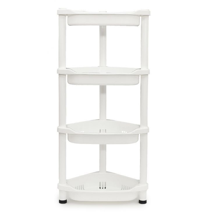 4 Tier Plastic Bathroom Kitchen Organiser Corner Rack
