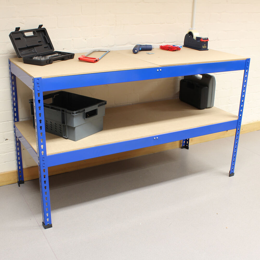 Blue heavy duty steel work bench station shelves for garage warehouse shed ebay Bench with shelf