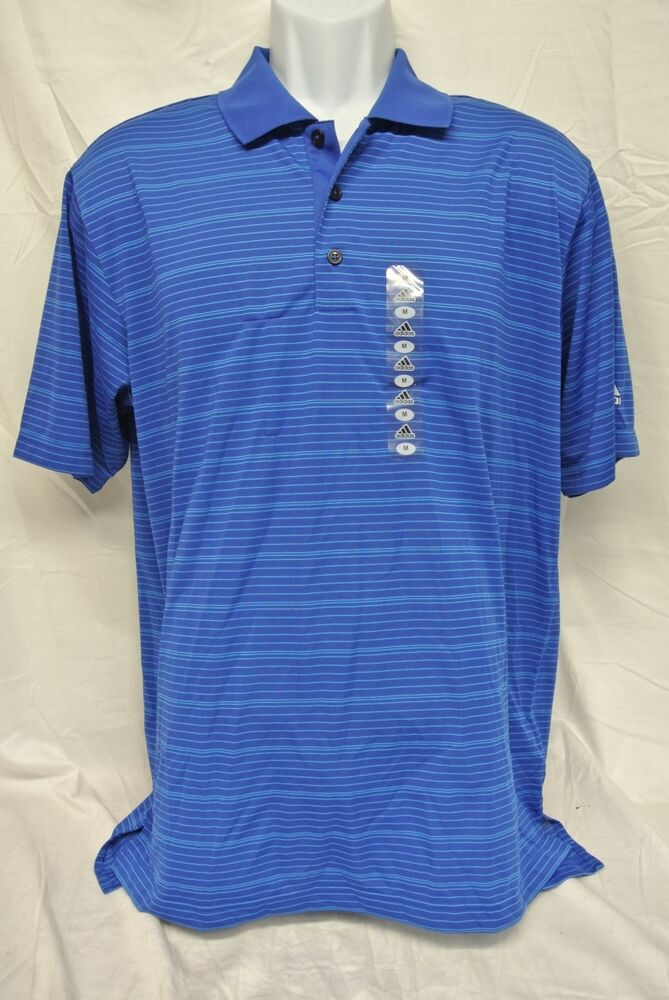 Adidas climalite performance men 39 s polo golf shirts blue w for Mens teal polo shirt