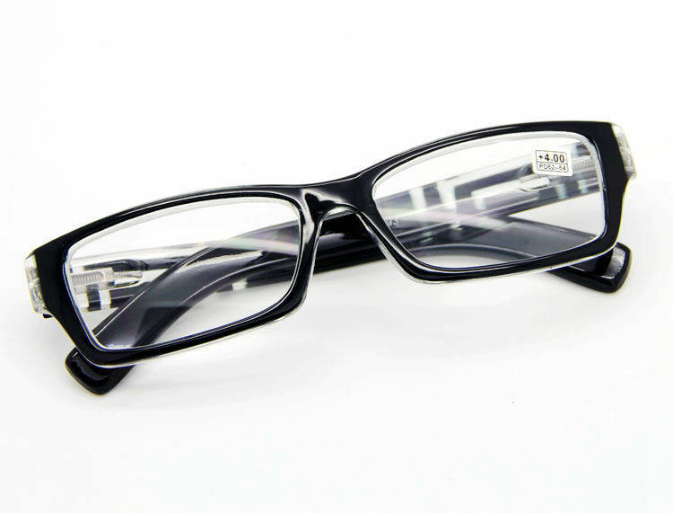 Mens Black Frame Reading Glasses : Fashion Mens Black Frame Square Patterned Temples Clear ...