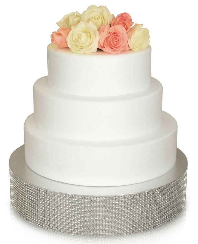 OCCASIONS Wedding Cake Stand Silver Gold Rhinestone Bling Cake Drum Base