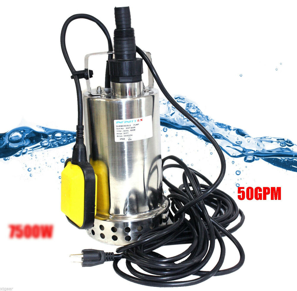 new 1hp 7500w 50gpm stainless submersible pool pond drain