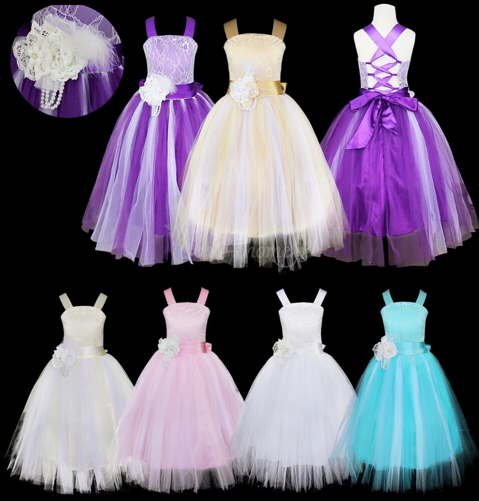 Girls kids fancy princess dress toddler baby wedding party pageant