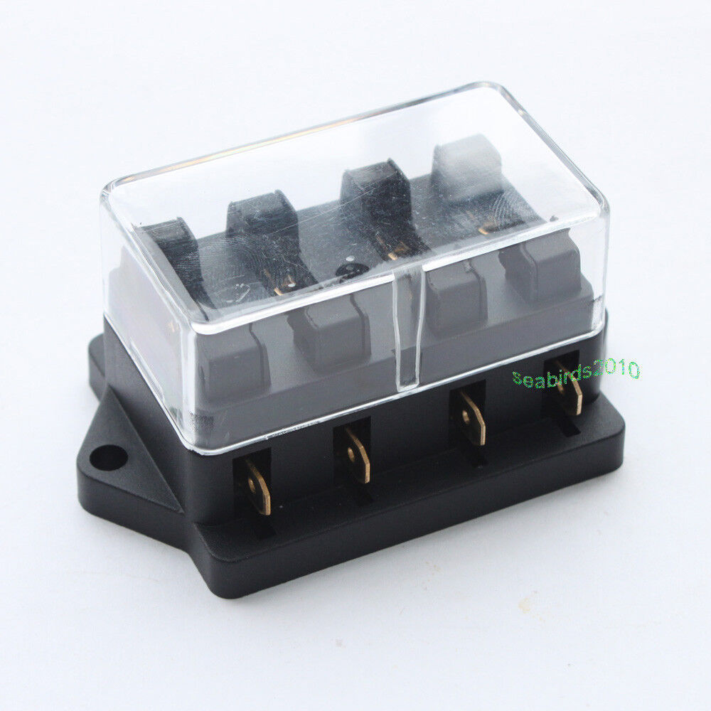 marine 4 way gang fuse block holder blade fuse box for car. Black Bedroom Furniture Sets. Home Design Ideas