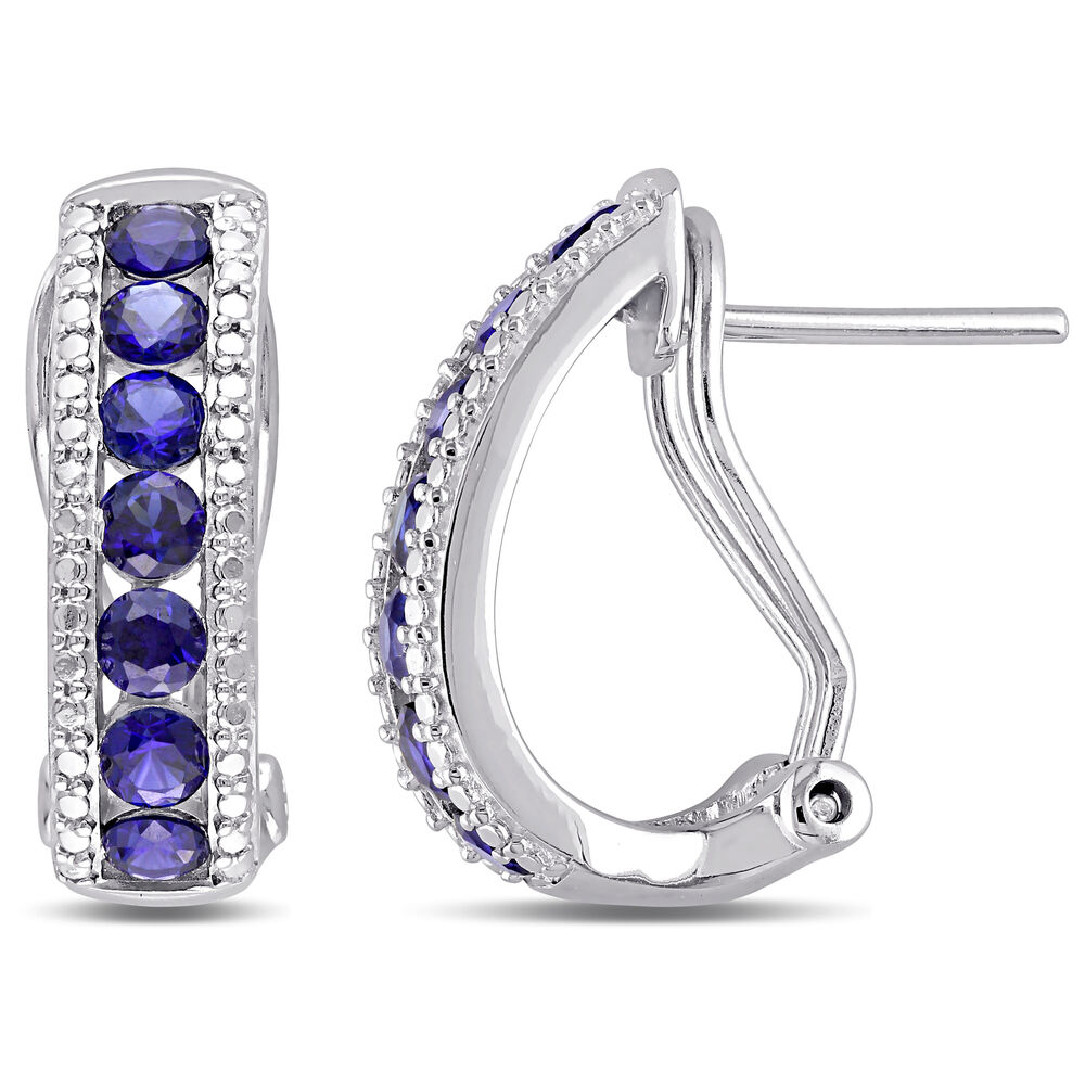 amour sterling silver created blue sapphire clip in stud. Black Bedroom Furniture Sets. Home Design Ideas