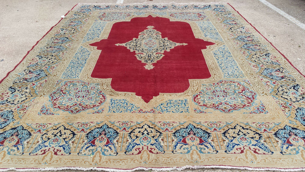 9 X 13 Hand Knotted Persian Iran Rug Woven Wool 9 X 13