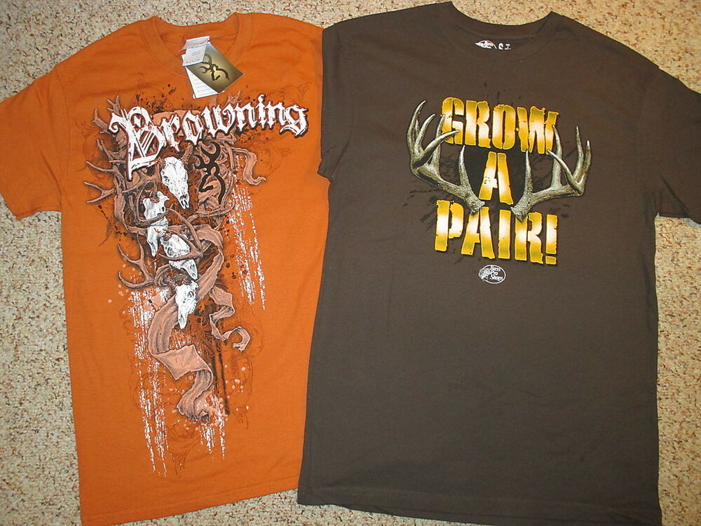 2 deer hunting t shirts mens s browning buckmark grow a for Two bucks t shirts