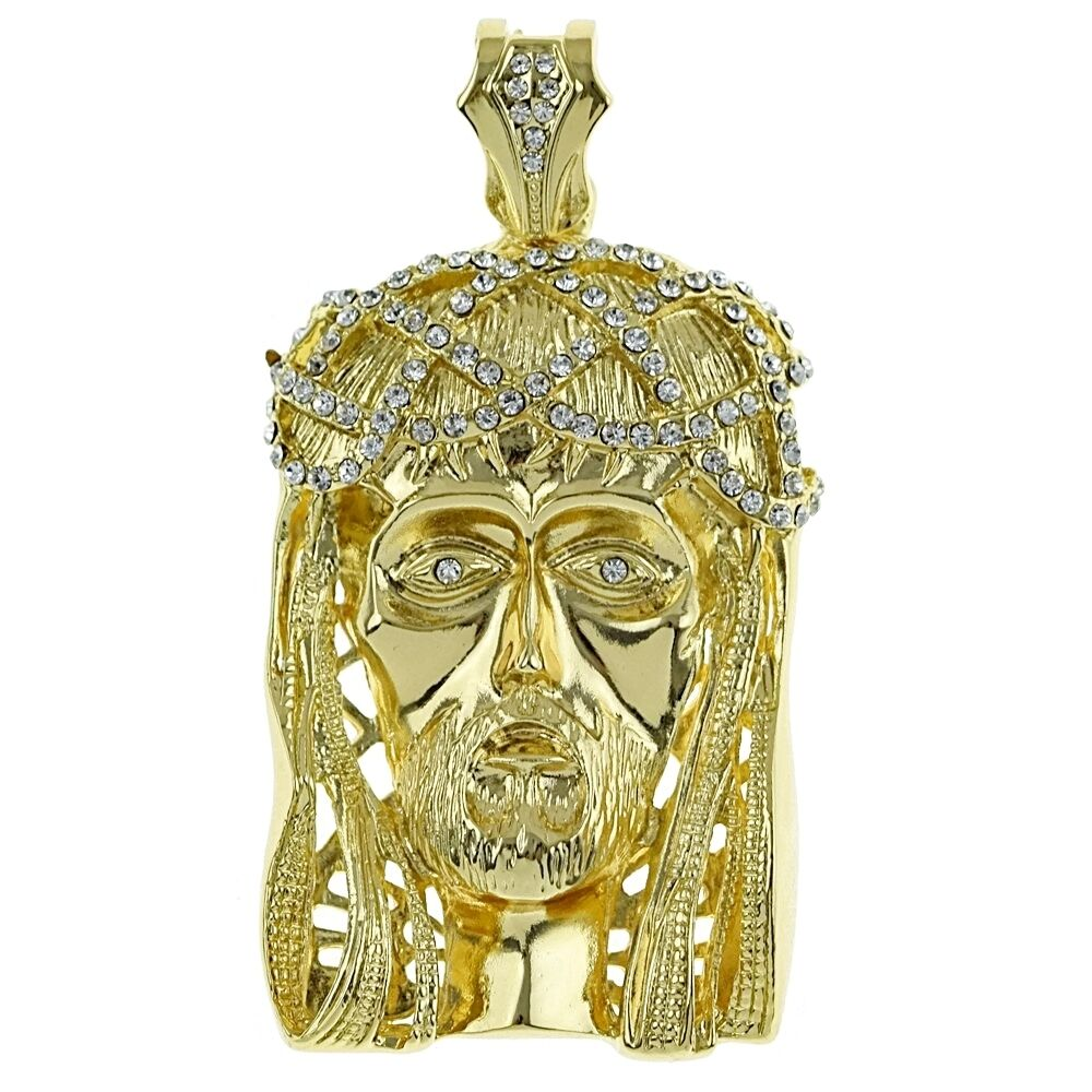 big jesus 16k gold plated pendant iced out chunky