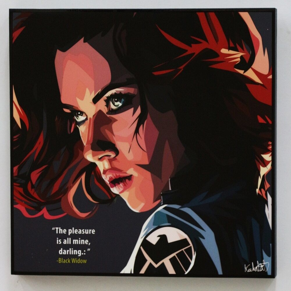 Wall Decals Pop Art : Black widow avengers canvas quote wall decals photo
