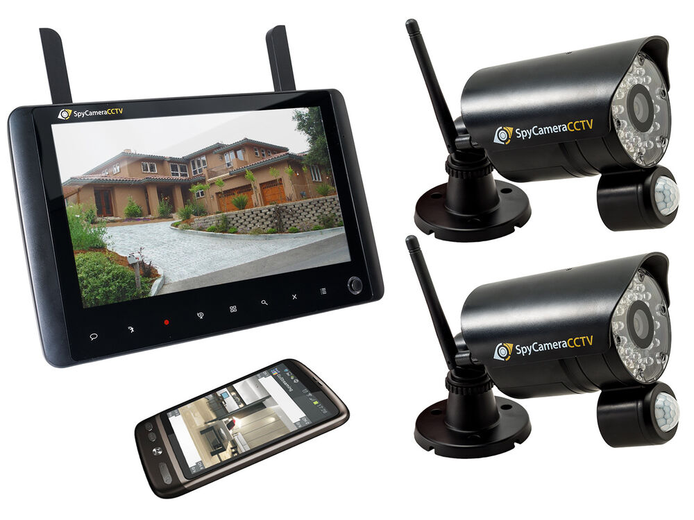 2 camera wireless home cctv security system 720p hd portable monitor recorder ebay. Black Bedroom Furniture Sets. Home Design Ideas
