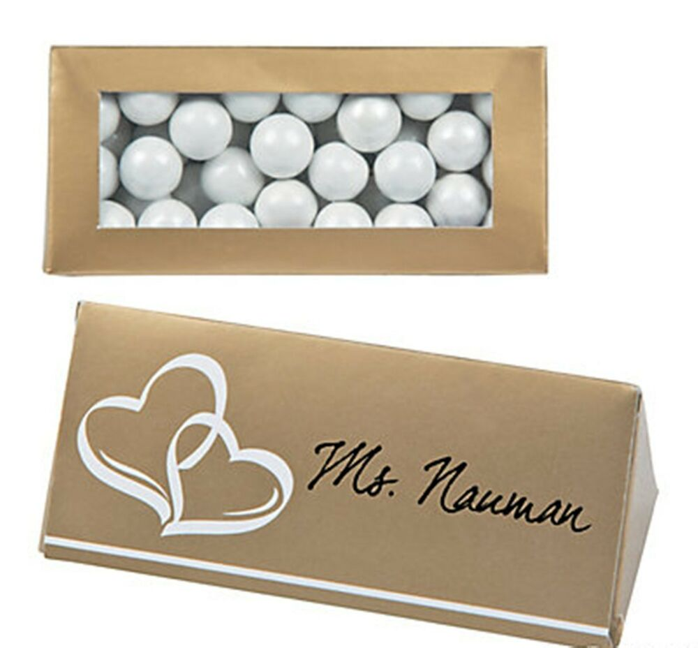 Gold seating name place cards candy boxes bridal th