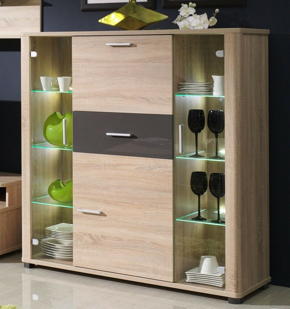kommode bar kommode highobard fill mit led beleuchtung ebay. Black Bedroom Furniture Sets. Home Design Ideas