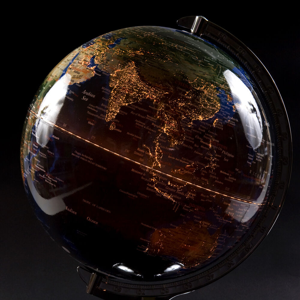 Table top lighted globe lamp desktop world decor night round map jordglob ebay - Globe main office address ...