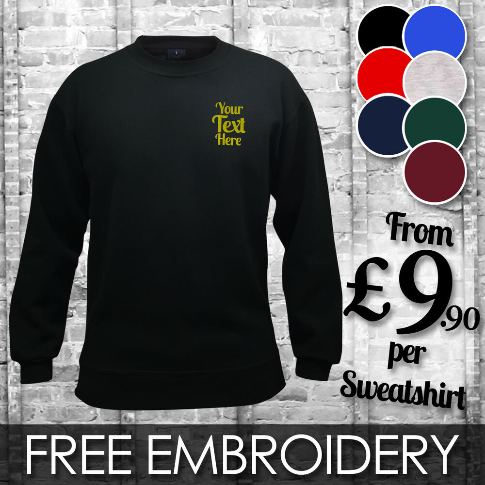 7bd6782d Details about CUSTOM EMBROIDERED PRINTED SWEATSHIRTS | Personalised Workwear  Jumper Wholesale