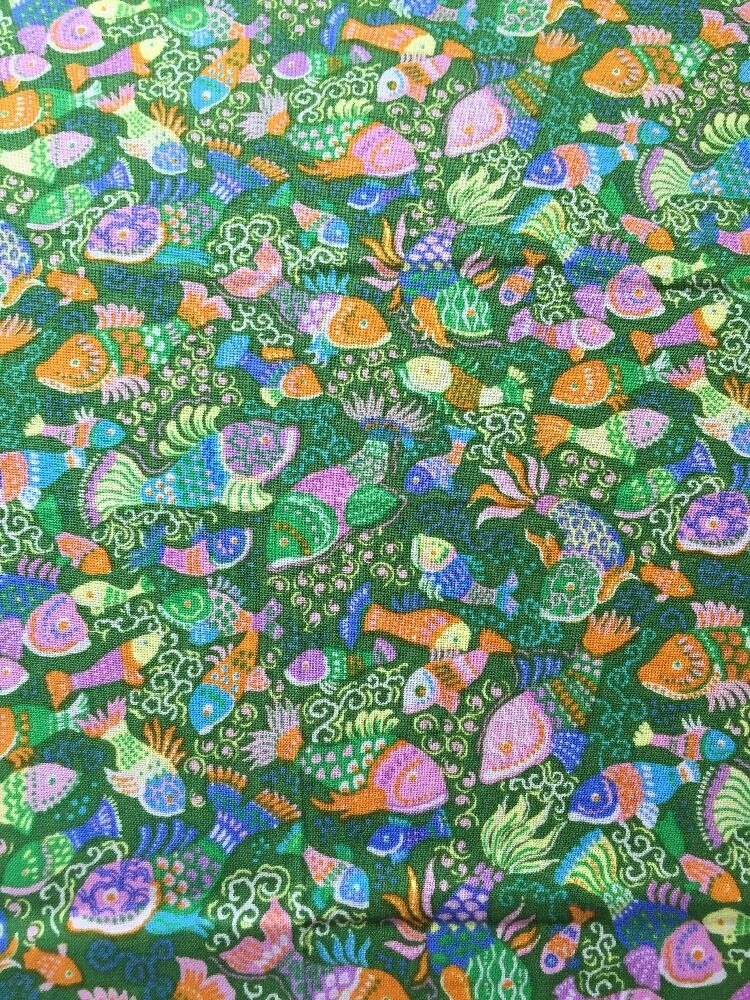 Rpa383 frolic under the sea fishes ocean life fish cotton for Fish fabric for quilting