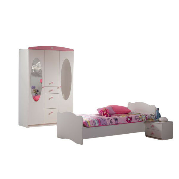 kinderzimmer kinderbett nachtkommode kleiderschrank m dchen jugendzimmer rosa ebay. Black Bedroom Furniture Sets. Home Design Ideas