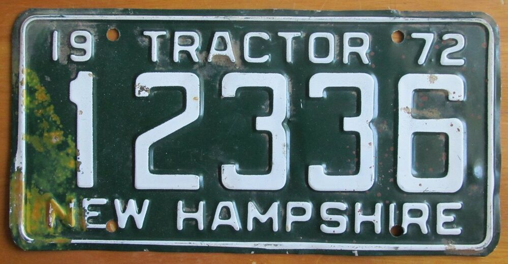 Tractor License Plates : New hampshire tractor license plate  ebay
