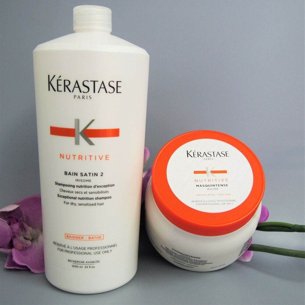kerastase bain satin 2 1000ml and masquintense thick hair 500ml prof ebay. Black Bedroom Furniture Sets. Home Design Ideas