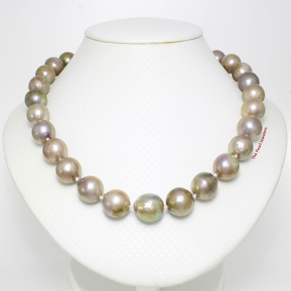 Pearl Necklace Clasps: UNIQUE NATURES LAVENDER NUCLEATED PEARL NECKLACE WITH 14K