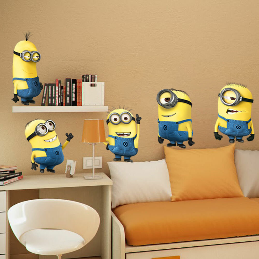 5 minions despicable me removable wall stickers decal home for Decoration mural
