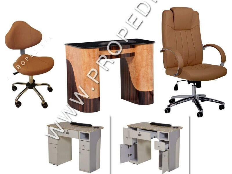 Manicure Nail Marble Table Technician Stool And Guest