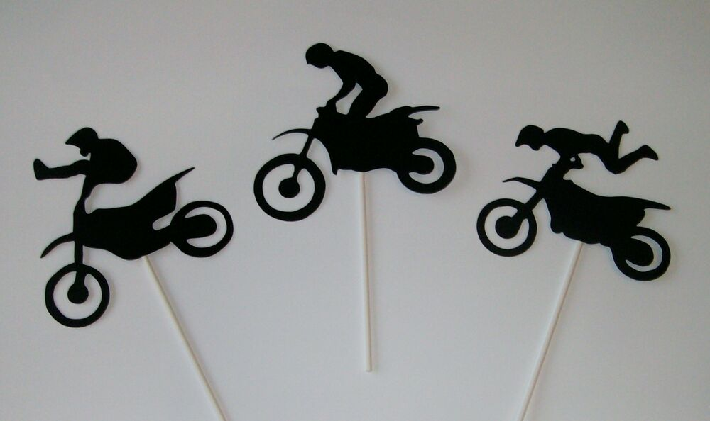 Hand crafted 3 dirt bike cake toppers or centerpieces for Handcrafted or hand crafted