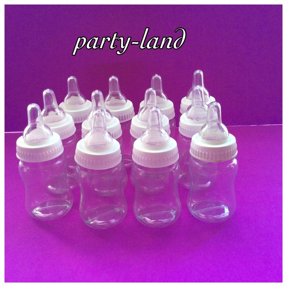 12 fillable bottles for baby shower favors white party for Baby shower favors decoration