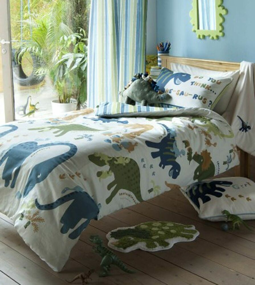 Catherine Lansfield Kids Dino Dinosaurs Green Bedding Quilt Set Curtains Ebay