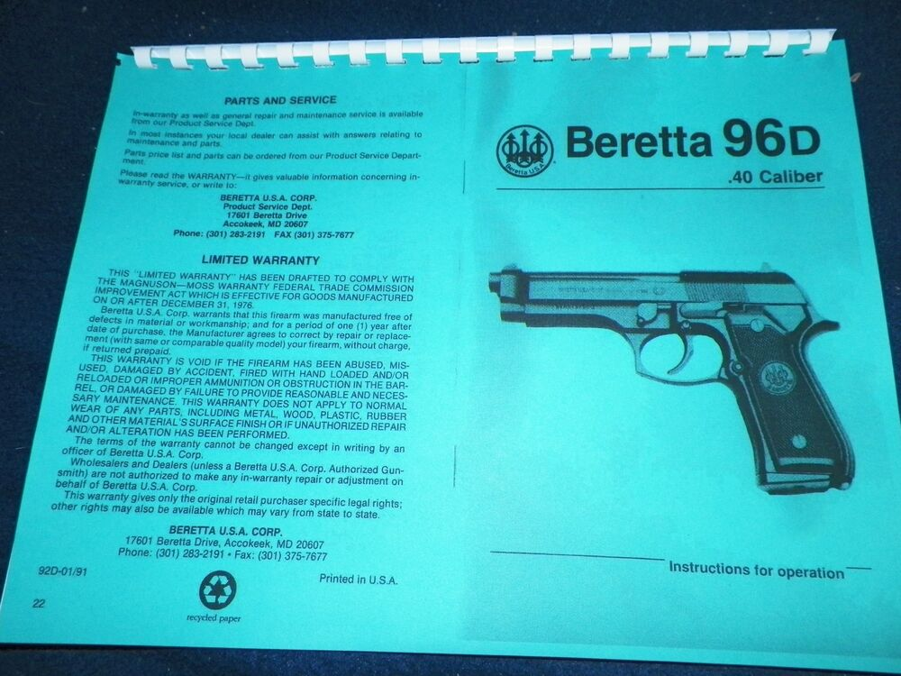 beretta series 81 owners manual  20 pages