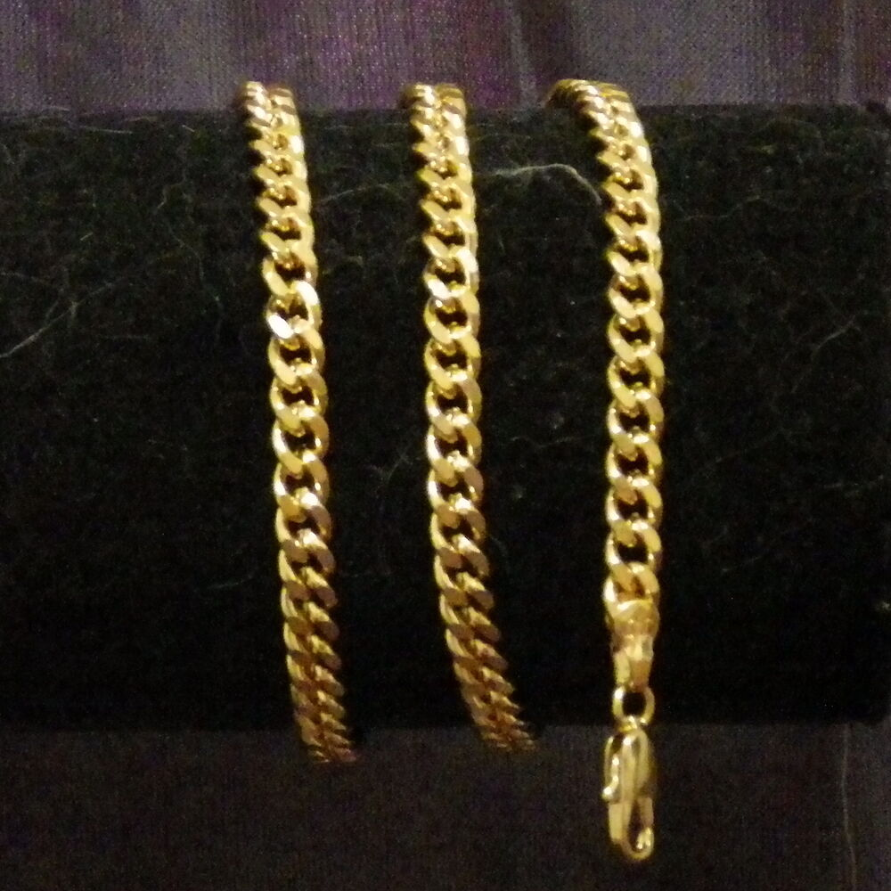 new 18k yellow gold filled 4mm curb link chain necklace. Black Bedroom Furniture Sets. Home Design Ideas