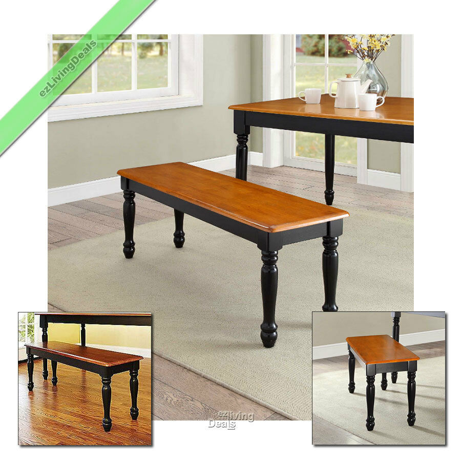 1 Pc Farmhouse Bench For Dining Table Benches Kitchen Room Wood Seat Black Oak Ebay