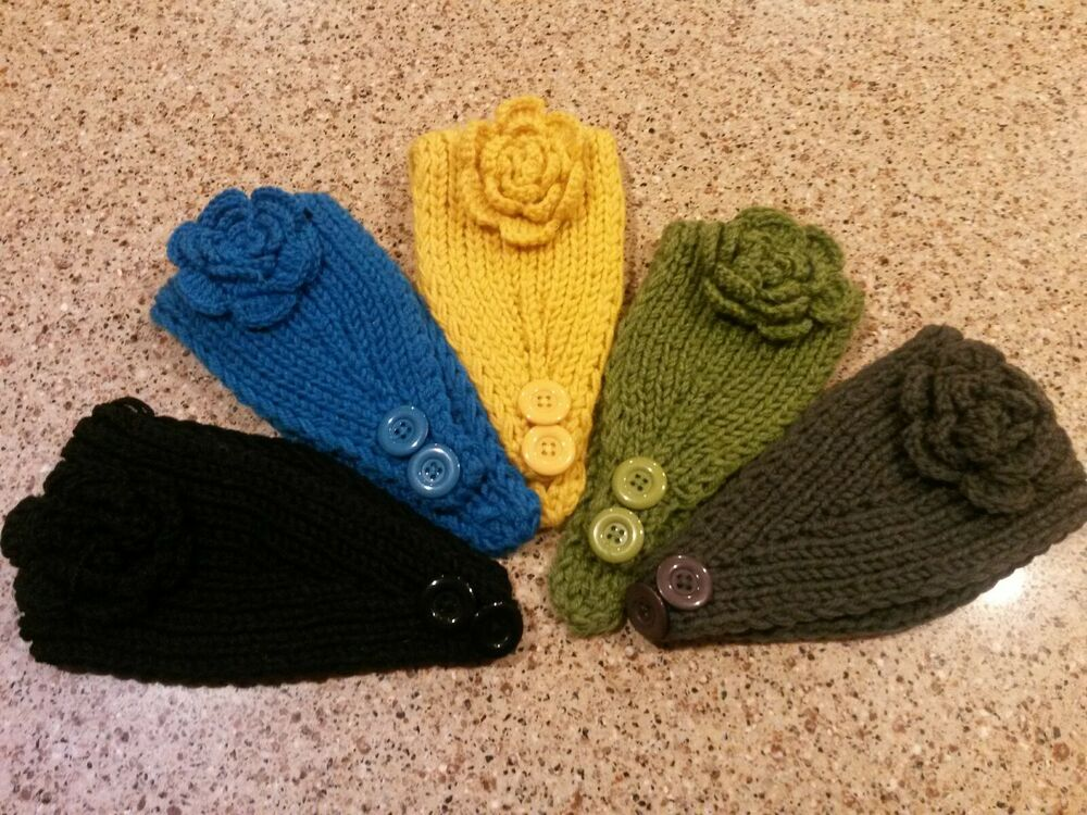 Knitting Patterns For Ear Warmers With Flower : CROCHET KNIT HEADBAND EAR WARMER with flower ~US SELLER eBay