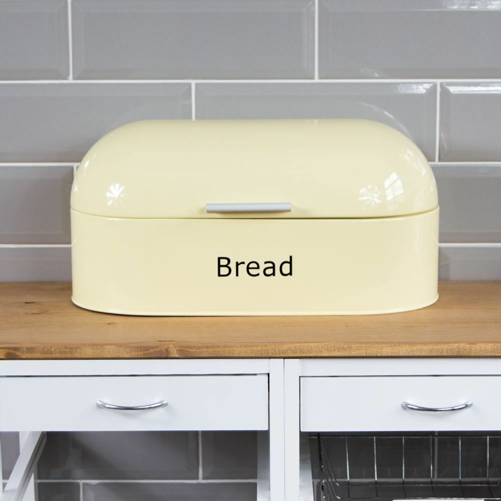 Retro Bread Bin Cream Steel Kitchen Top Storage Loaf Box