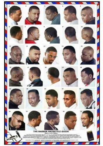 barber shop haircut poster 06blkm large format laminated barber poster 3959