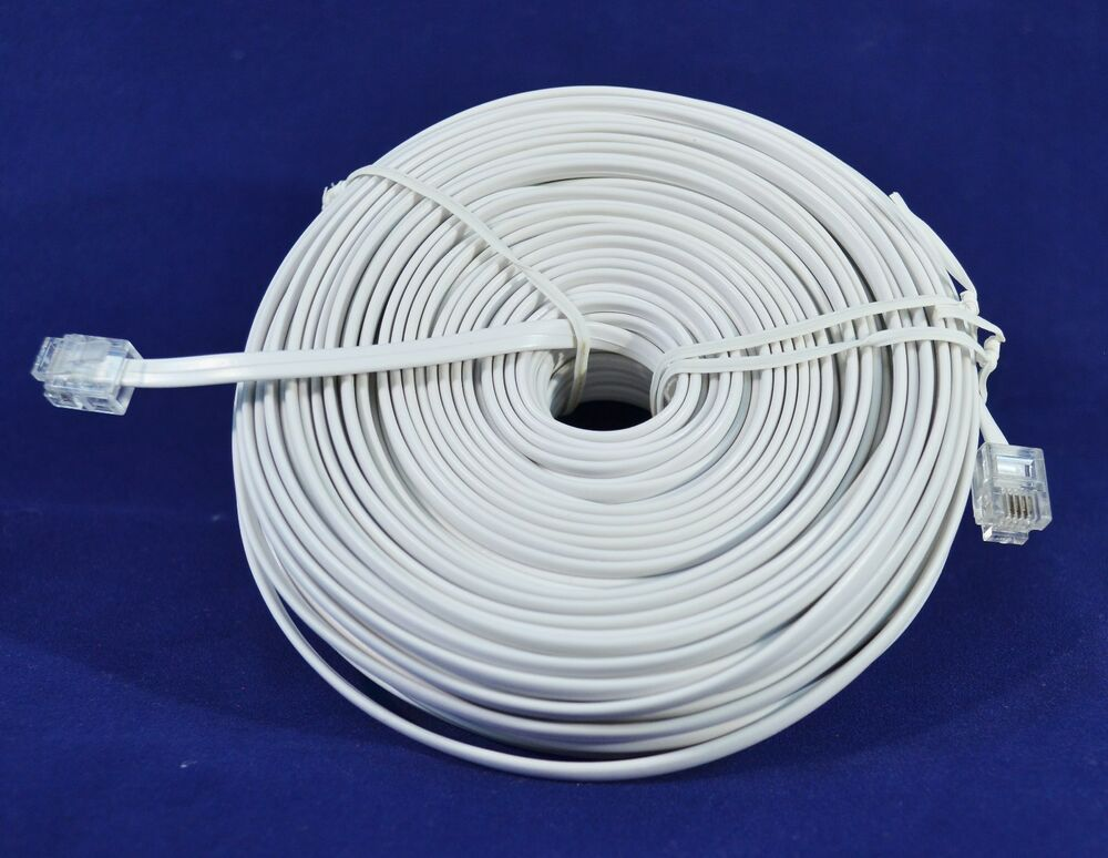 100ft Rj11 Modular Telephone Extension Cord Wire Line