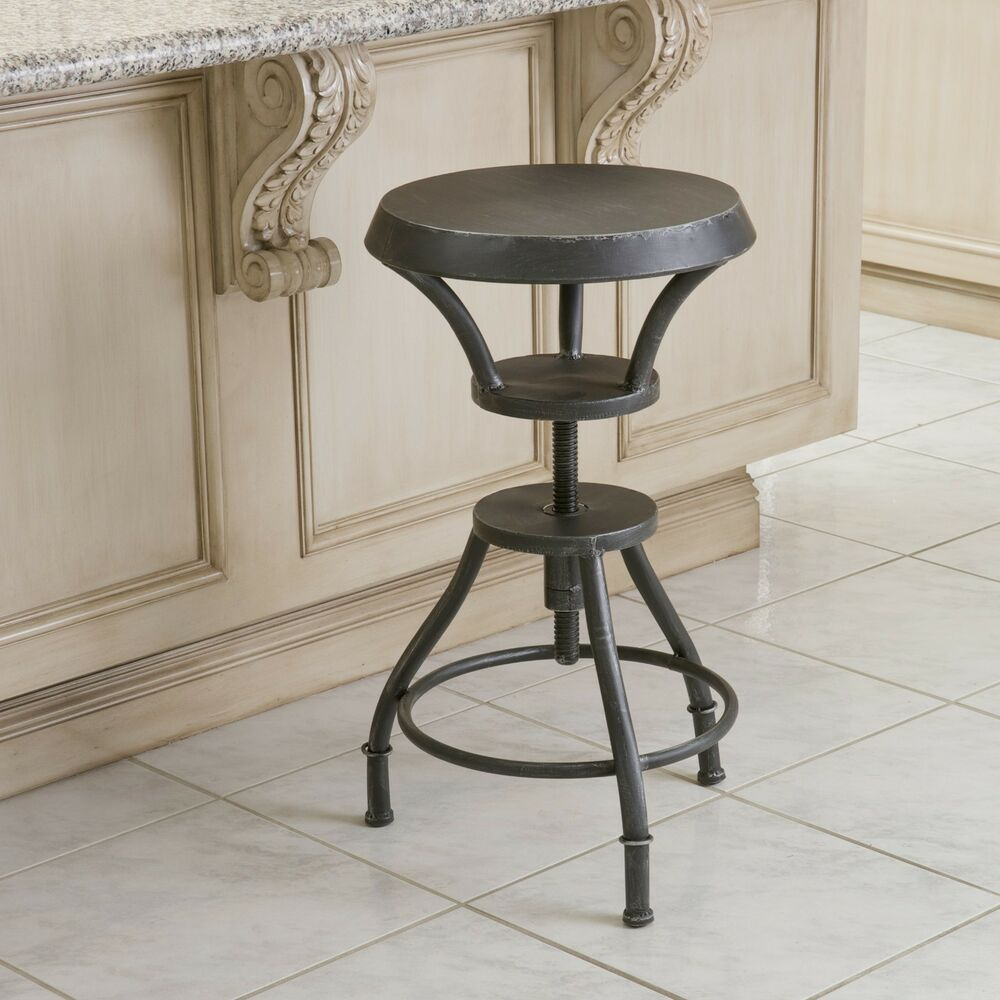 Industrial Metal Design Adjustable Height Swivel Bar Stool