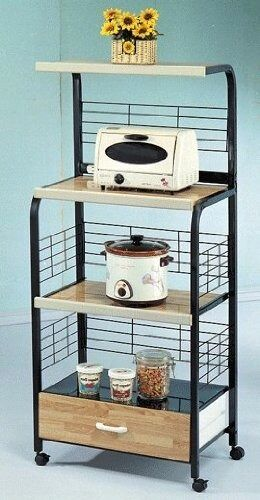 Microwave Stand With Outlet In Black Ebay