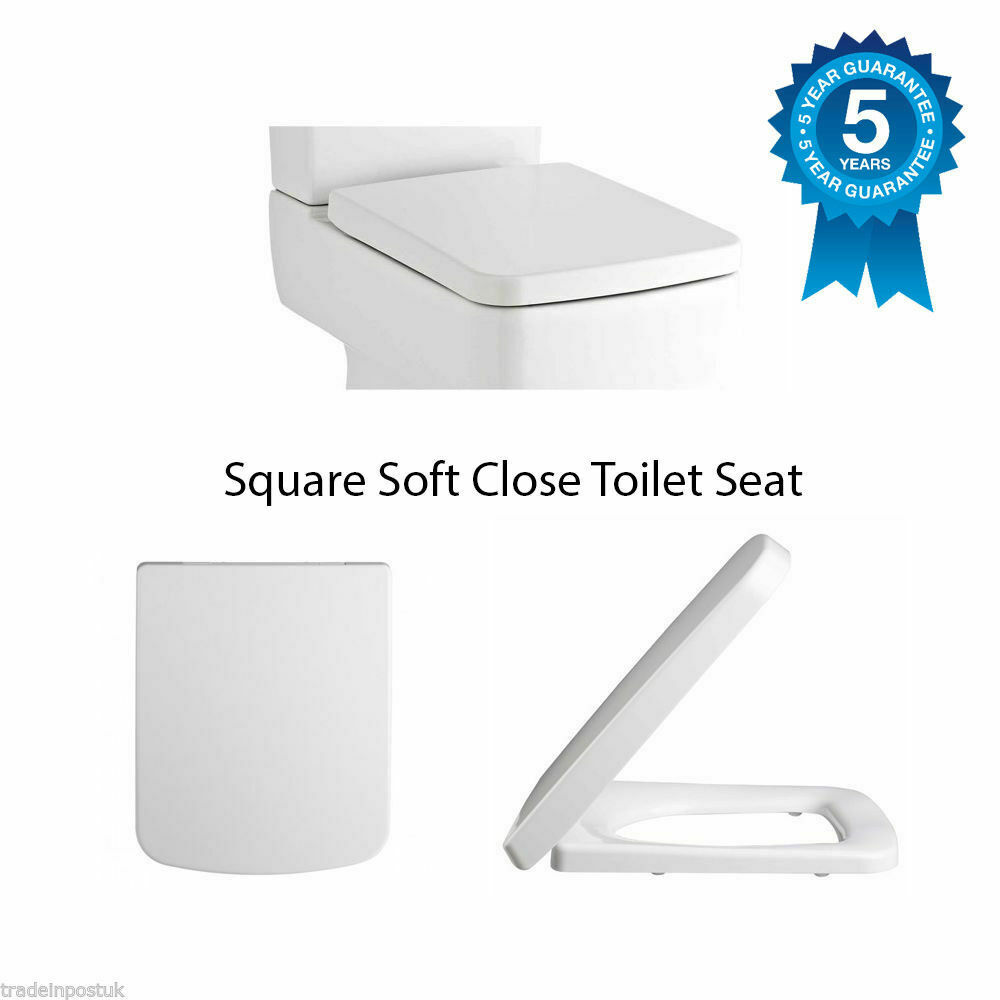 Square Soft Close Toilet Seat Top Fixing Easy Clean White Modern NCH198 EBay