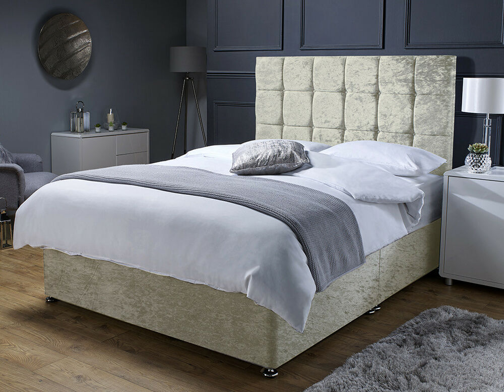 Ivory cream crushed velvet divan bed base double for Super king size divan bed with mattress