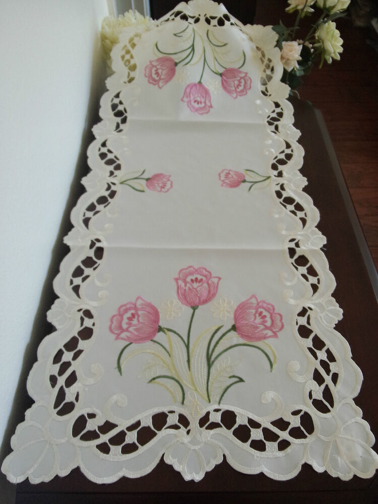 16 Quot X54 Quot Embroidered Table Runner Pink Tulip Floral