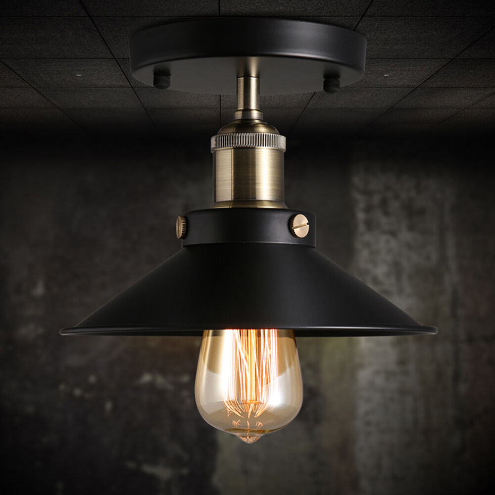 Celing Light Fixtures: Vintage Black Ceiling Mount Light Chandelier Edison Lamp