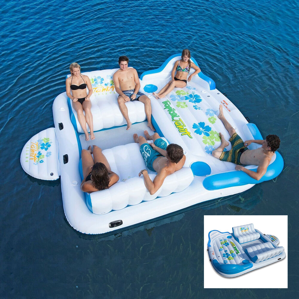 Giant Inflatable Floating Island 6 Person Raft Pool Lake