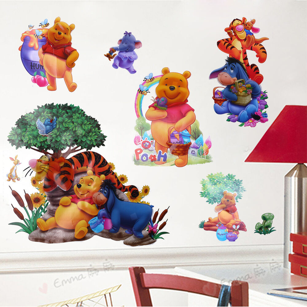 Cartoon winnie the pooh tiger art wall stickers decals for Baby pooh and friends wall mural