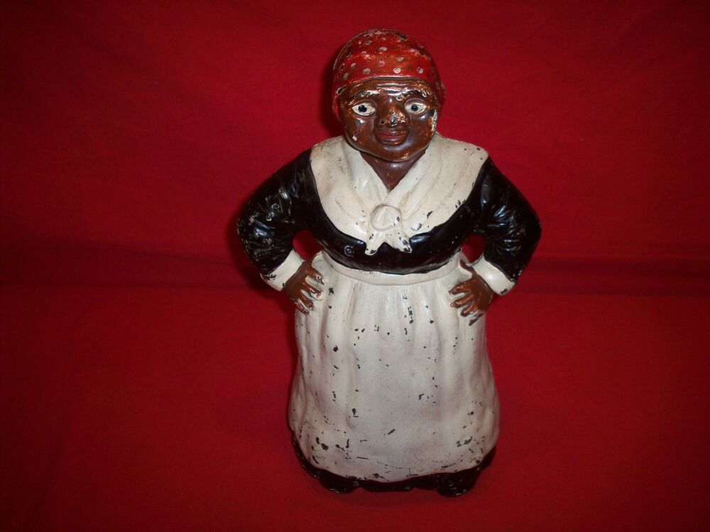 Antique Hubley 12 Quot Mammy Door Stop Quot Great Original Paint