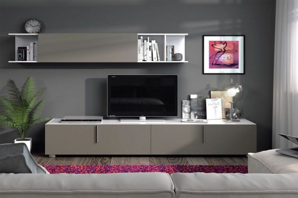 Maura Tv Unit Living Room Furniture Set Media Wall Basalt Grey On White Gloss Ebay