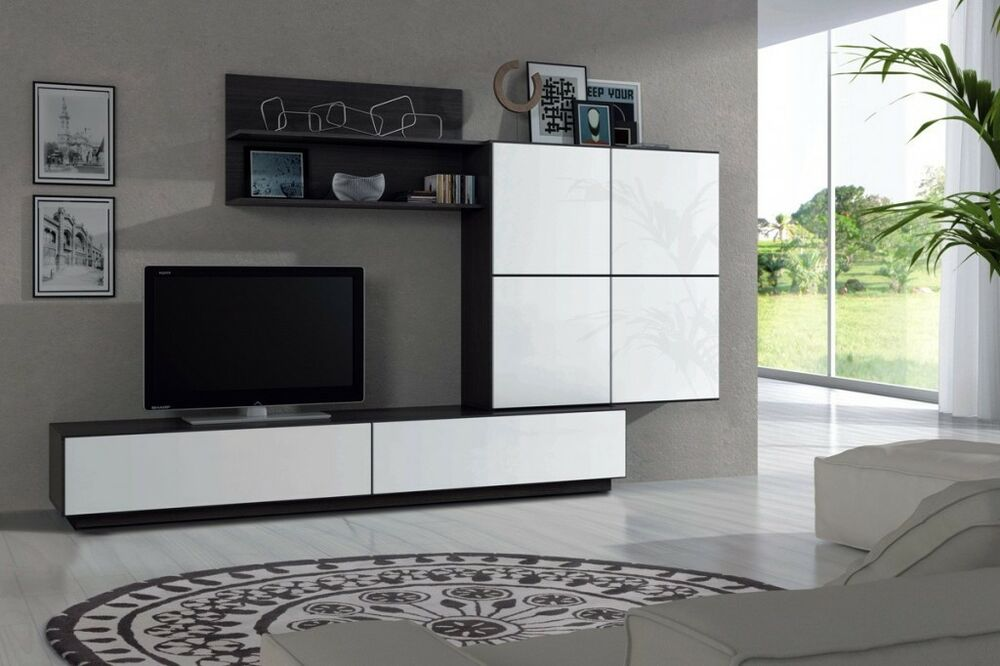 Gabriella Tv Unit Living Room Furniture Set Media Wall White Black Ash Ebay