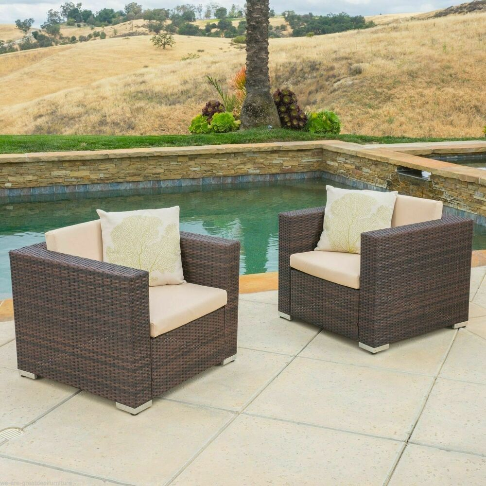 set of 2 outdoor patio furniture brown wicker sofa club. Black Bedroom Furniture Sets. Home Design Ideas