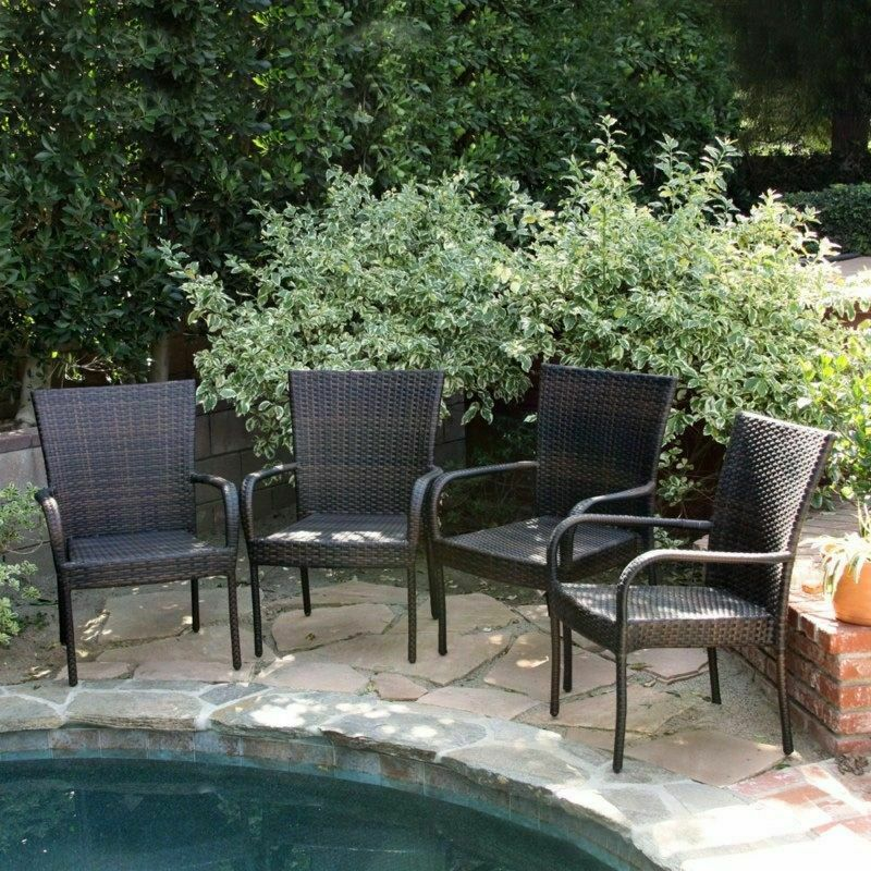 Set of 4 outdoor patio furniture brown wicker stackable for I furniture outdoor furniture