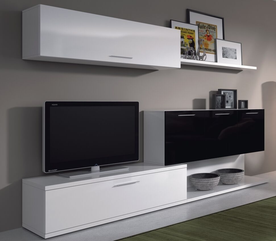 Aletta Tv Unit Living Room Furniture Media Wall Melamine Black On White Gloss Ebay
