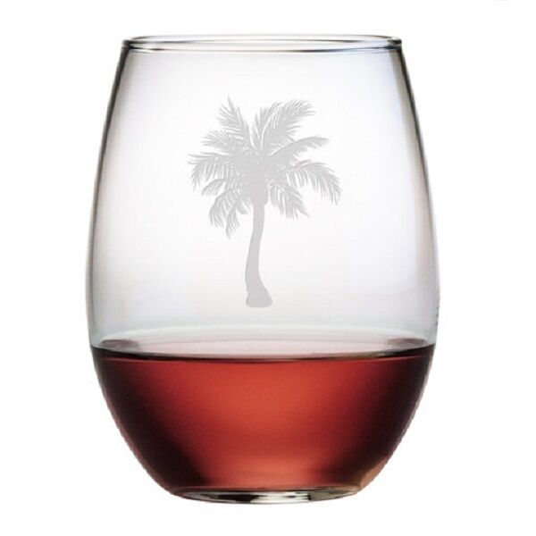 Stemless wine glasses palm tree design set 4 hand etched for Hand designed wine glasses